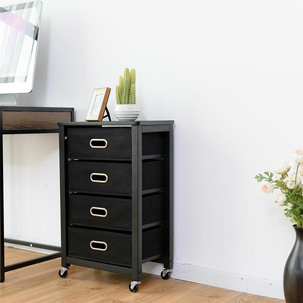 Goantex Rolling File Cabinet Heavy Duty Mobile Storage Filing Cabinet W/ 4 Drawers HW54022