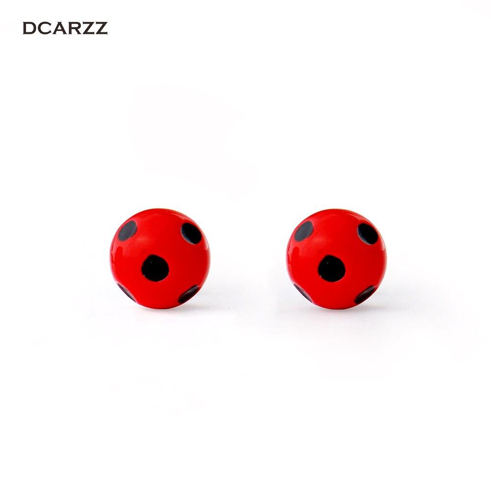Miraculous ladybug stud earrings metal circle with dot