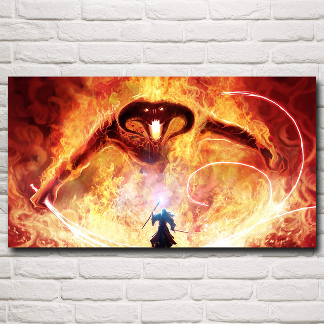 Gandalf The Lord of the Rings Balrog Fantasy Movie Art Silk Poster Home Wall Decor Painting 11×20 16×29 20×36 Inch Free Shipping