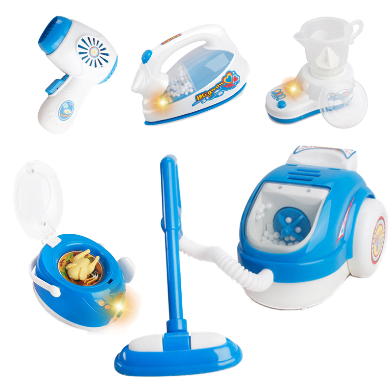 Blue Mini Household Pretend Play Kitchen Children Toys Vacuum Cleaner Mixer Rice Cooker Educational Appliances For Girl Toy M033