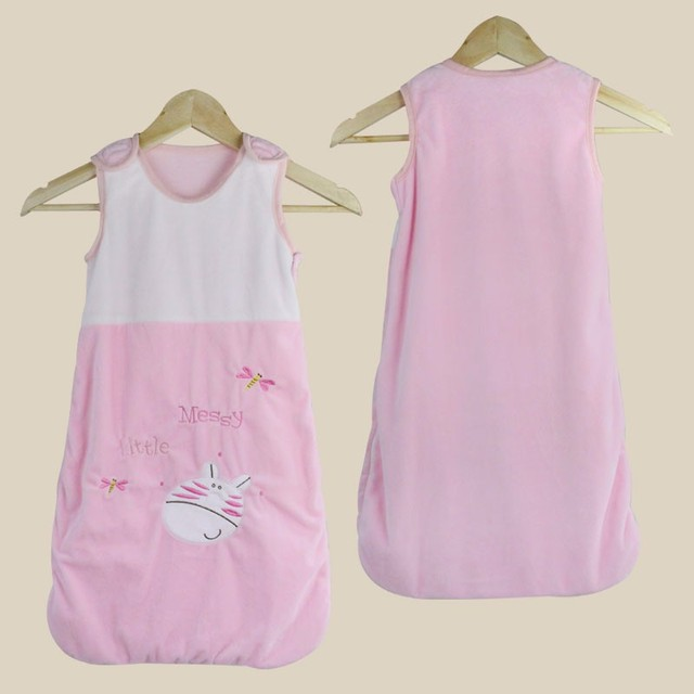 Summer Newborn Sleepsacks 100% Flannel 2 layers 0-12 months Baby Sleeveless Embroider Sleeping Bag Baby Sacks 70X38cm