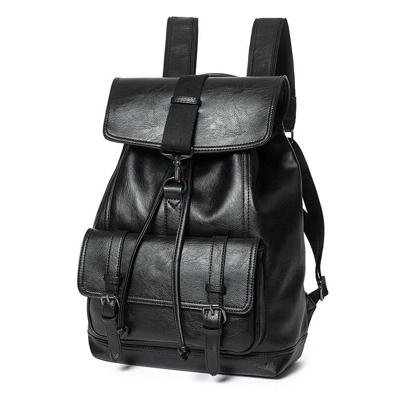d948ed182d Black Leather Backpack Schoolbag For Teenager Solid Leather Backpack for men  Large capacity Travel Laptop Backpack mochila