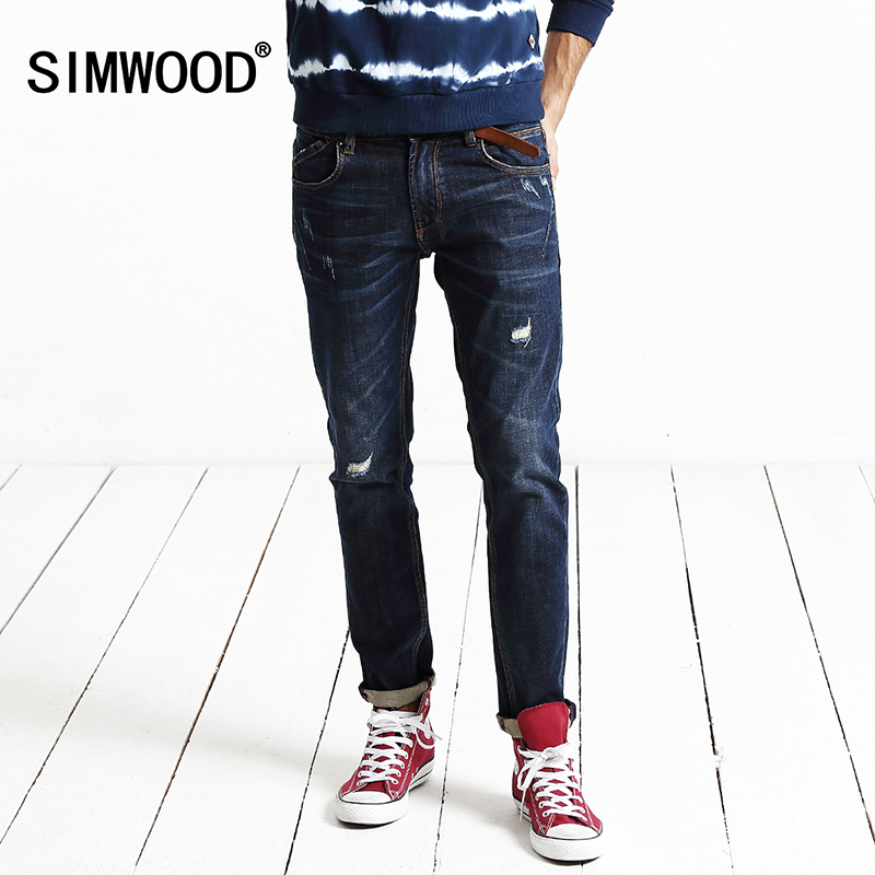 SIMWOOD 2017 new autumn winter  jeans men length denim pants fashion causal trousers  hole hip hop Brand Clothing   SJ6048 2017 new spring and summer jeans men hole causal denim pants mid fashion trousers full length pencil balmai robin top