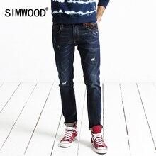 Simwood Новинка 2017 на осень-зиму джинсы мужчин длина джинсы модные повседневные брюки отверстие в стиле хип-хоп брендовая одежда SJ6048