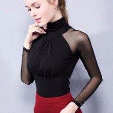 Chemise en tissu maille moderne pour femmes, vêtements de danse, noir, bordeaux blanc, pour bal, chemise transparente, latine, collection haut de danse