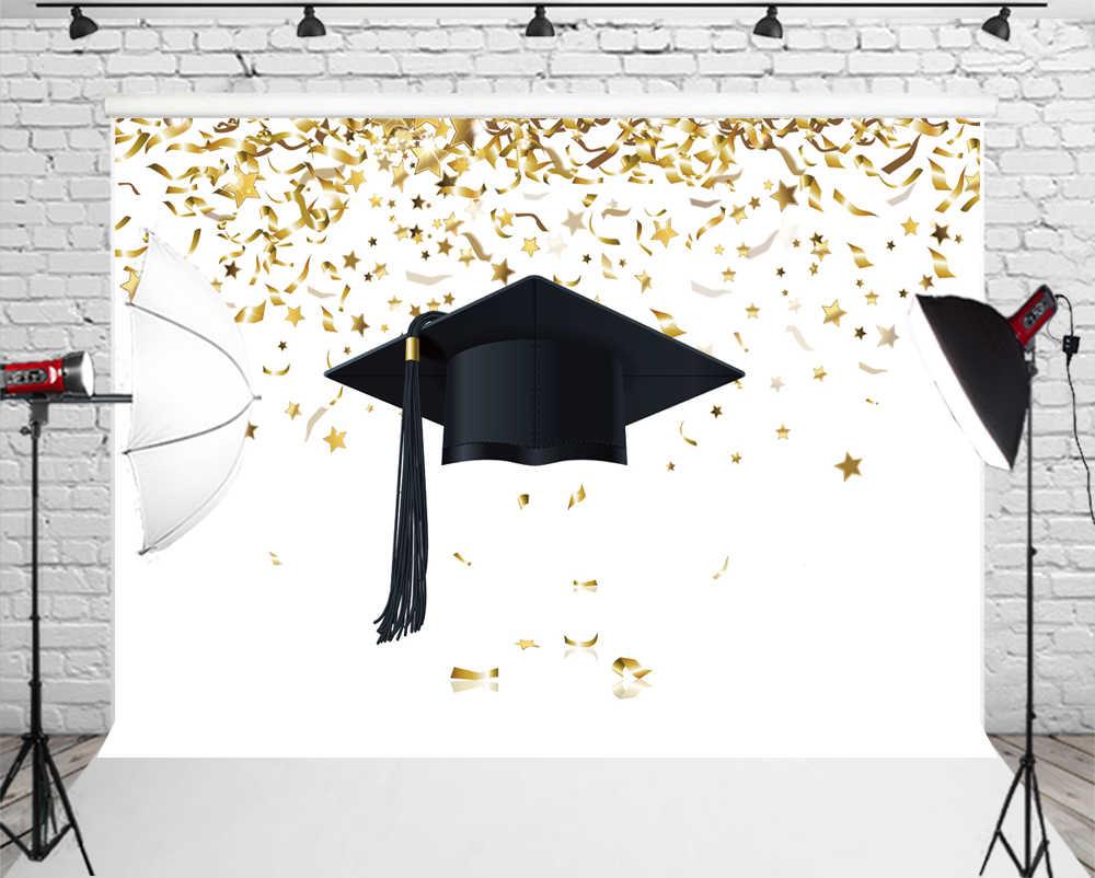Congrats Photo Backdrop Black Graduation Cap Gold Bokeh Stars