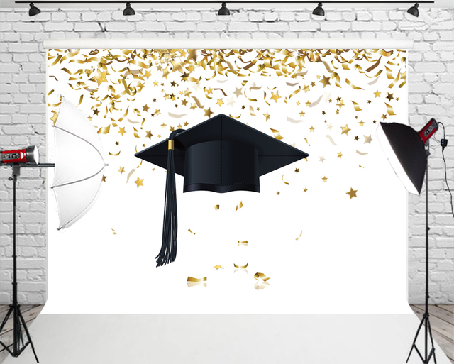 HUAYI Graduated Photo Backdrop Black Graduation Cap Gold Bokeh Stars Background Customized Banner Photography Studio Prop W-617