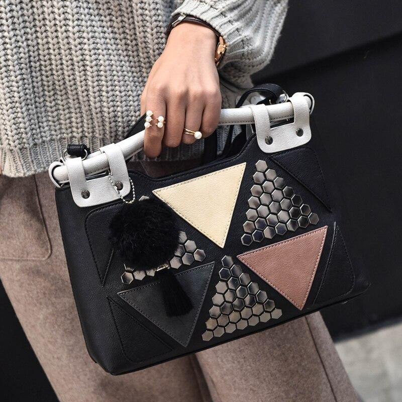 Women PU Leather Triangle Patchwork Rivet Shoulder Bag Office Handbag Ladies Fur Ball Tote Bags Top-Handle Bag