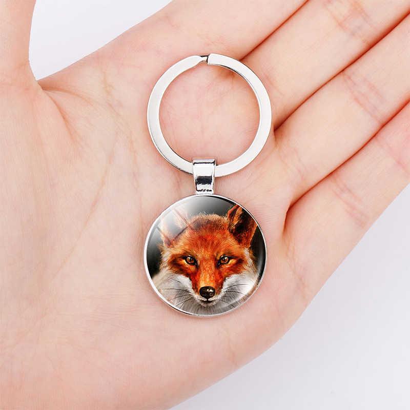 Red Fox Chaveiro Pingente Jóias de Arte Da Vida Selvagem Da Floresta Natureza Cúpula De Vidro Pingente Chaveiro Presente de Aniversário de Prata Metálica