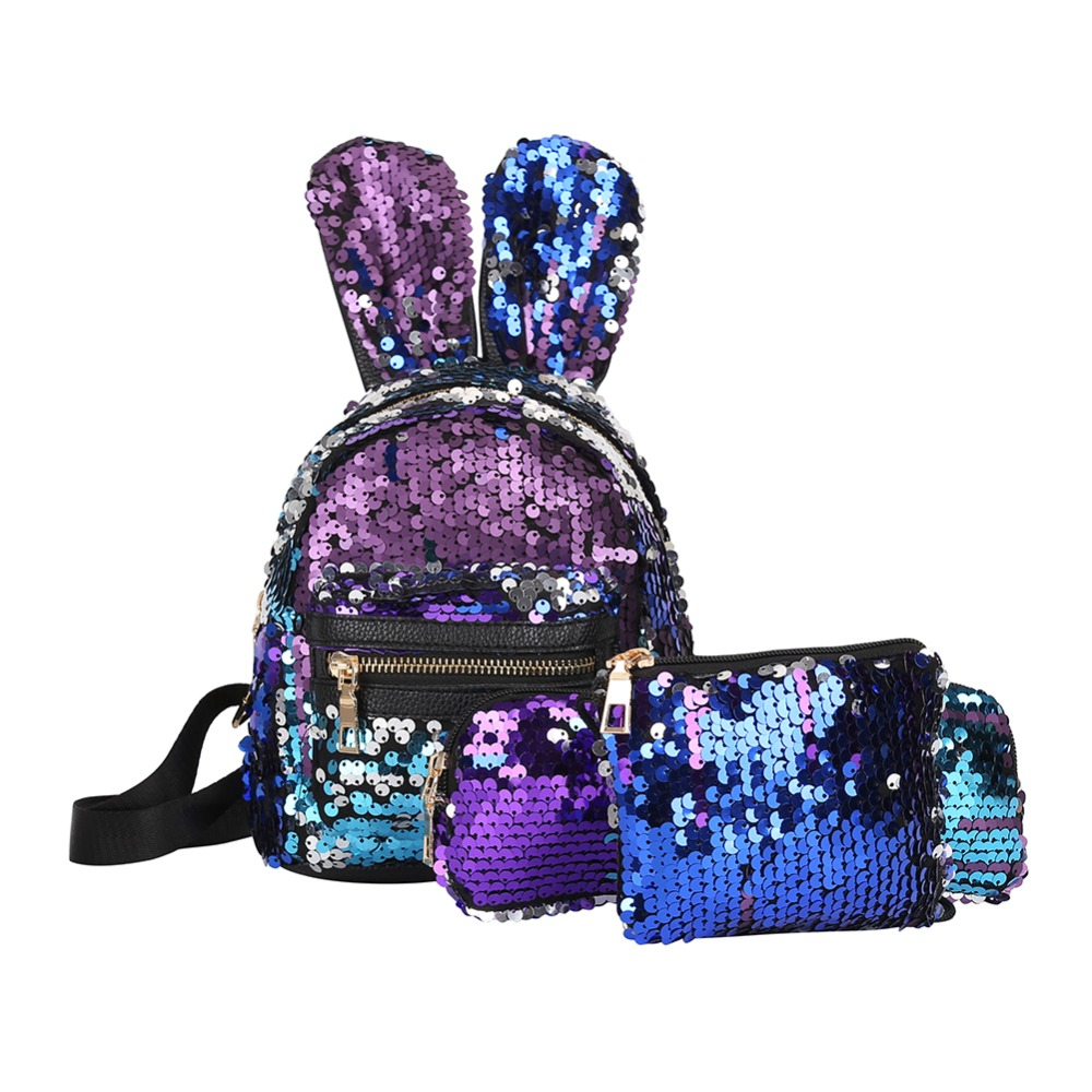 3pcs Mini Shining Sequins School Backpack Women Rabbit Ears Rucksack Back Bags for Girls Travel Shoulder Bag mochilas mujer New3pcs Mini Shining Sequins School Backpack Women Rabbit Ears Rucksack Back Bags for Girls Travel Shoulder Bag mochilas mujer New
