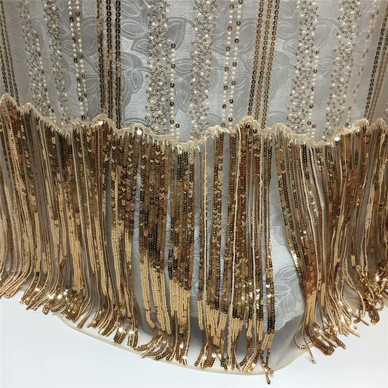 2018 High Quality New Arrive African Lace Fabric With Sequins Nigerian Lace Fabrics gold Sequins Fabric For Dresses H1395-in Lace from Home & Garden    1