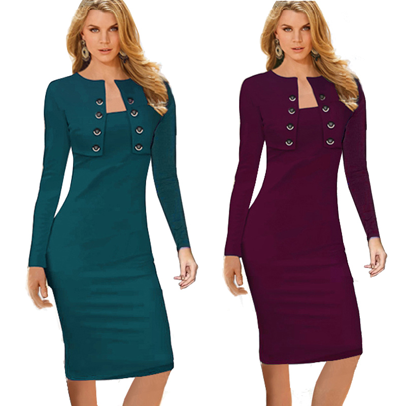 ... Winter Long Sleeve Buttons office Business Dress Elegant Plus Size Women  Vintage Pinup Bodycon Pencil Dress b10. 43% Off. 🔍 Previous. Next 3da175b04