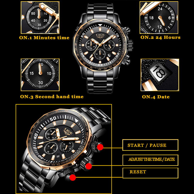 Relojes para hombres Mens Watches Big Dial Military LIGE Top Brand Luxury Fashion Watch Men Waterproof Sports Quartz Wristwatch image