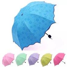 Простой Модный волшебный цветочный купол, ультрафиолетовая Защита от солнца и дождя, складные Прозрачные зонтики для женщин и детей, ветрозащитный солнцезащитный зонт