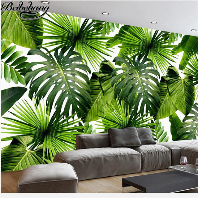 beibehang papier peint personnalis grande fresque 3d moderne minimaliste frais plantes de la. Black Bedroom Furniture Sets. Home Design Ideas