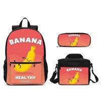 3Pcs/Set Portfolio School Bags For Boys Girls Funny Cute Cartoon Banana 3D Printing Bookbag Teenage Kids Satchel Mochila Escolar