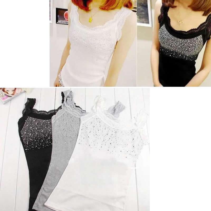 Women/'s Rhinestone Lace Slim Tank Top Camisole Vest Sleeveless Girl Blouse Tops