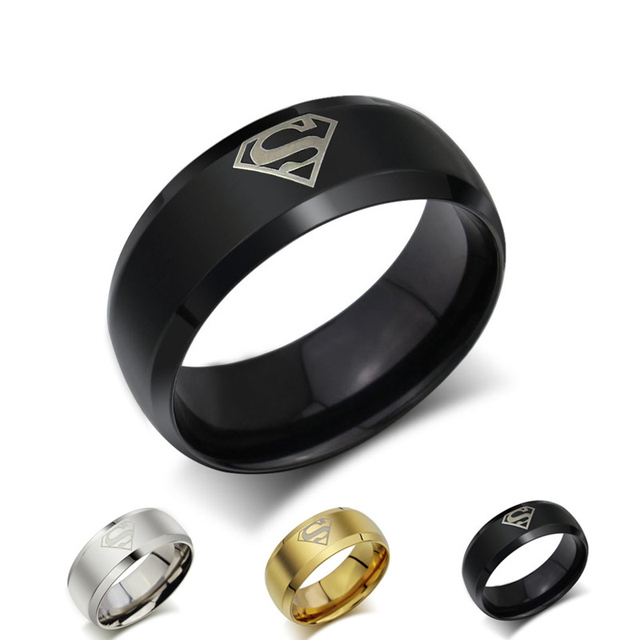 Top Quality Trendy Stainless Steel Rings Supermen For Men Black Gold Rings Male Stainless Steel Jewelry
