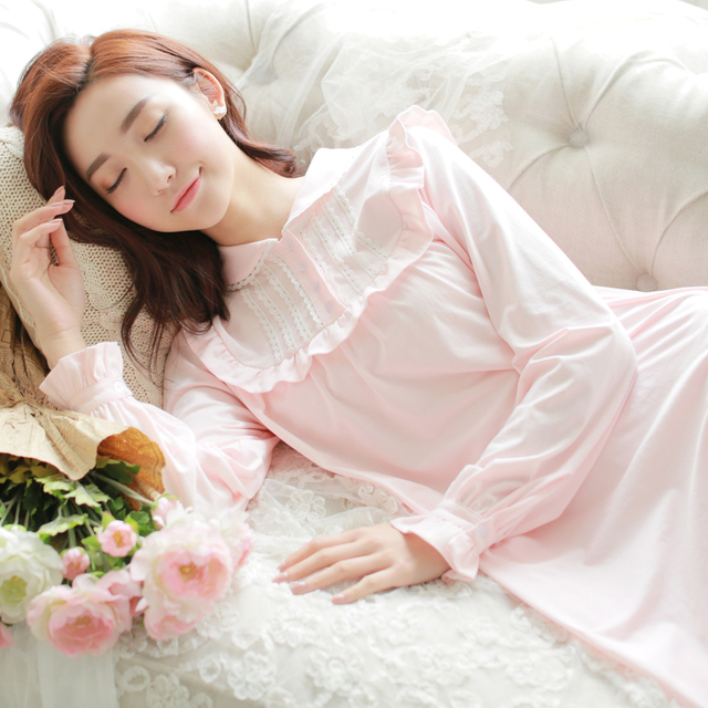 Free Shipping Women Cotton Nightgown Autumn Winter Roman Holiday Princess Pyjama Sleepwear Ankle-Length White Nightdress s16008