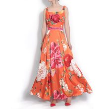 Di alta qualità 2018 di modo del progettista di estate Donne di lunghezza  del vestito Della Cinghia di Spaghetti rosa peonia Sta. c1ffcbe1ed0