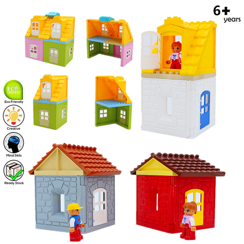 Large Particles Building Blocks Roof Wall Door Window Accessories House Assemble Bricks Duploe Toys For Kids