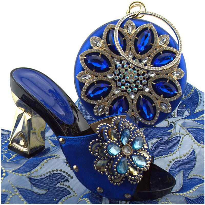 Strass Neueste Schwarzes Frauen High purpurrot Blau Afrikanische Schuhe königliches Tasche rot gold Taschen Mit Set Verziert silber Shos Partei blau Pumpen Heels Damen Passenden himmel aa7r0q
