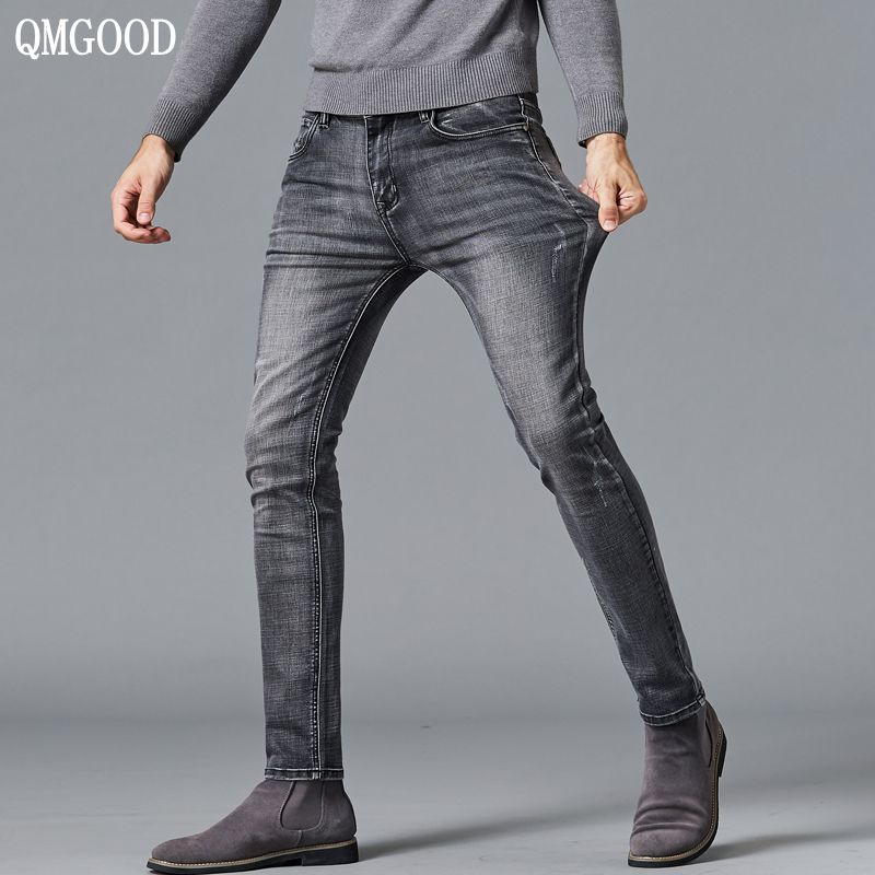 QMGOOD Brand Fashion Men's Gray Jeans High Elasticity Water-Washed Denim Mid-rise Slim Jeans Men Casual Pencil Pants Man Clothes