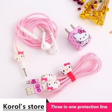 Cute Cartoon USB Cable Earphone Protector Set With Cable Winder Stickers Spiral Cord Protector For iphone 5 6 6s 7plus cartoon usb cable earphone protector set with earphone box cable winder stickers spiral cord protector for iphone 5s 6 6s 7