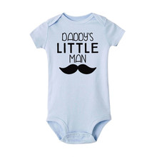 Daddy's little man letter print Baby Bodysuit Infant Jumpsuits Overalls Cotton Baby Boy Girls Clothing Outerwear Bodysuits(China)