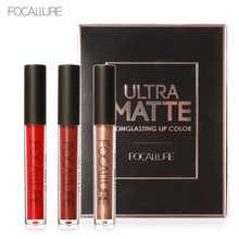 FOCALURE 3 Sexy Colors Matte Liquid Lipstick Lip Paint Matte Lipstick Waterproof Long Lasting Lip Gloss Lips C