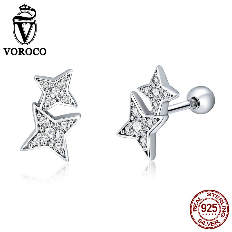 VOROCO Genuine 925 Sterling Silver Sparkling Star Stud Earring Women High Quality Cubic Zirconia Stone Shiny Fine Jewelry BKE432VOROCO Genuine 925 Sterling Silver Sparkling Star Stud Earring Women High Quality Cubic Zirconia Stone Shiny Fine Jewelry BKE432