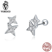 VOROCO Genuine 925 Sterling Silver Sparkling Star Stud Earring Women High Quality Cubic Zirconia Stone Shiny Fine Jewelry BKE432 popular 925 sterling silver 5 colors square cubic zirconia stone austria crystal classic clip earring women jewelry brinco