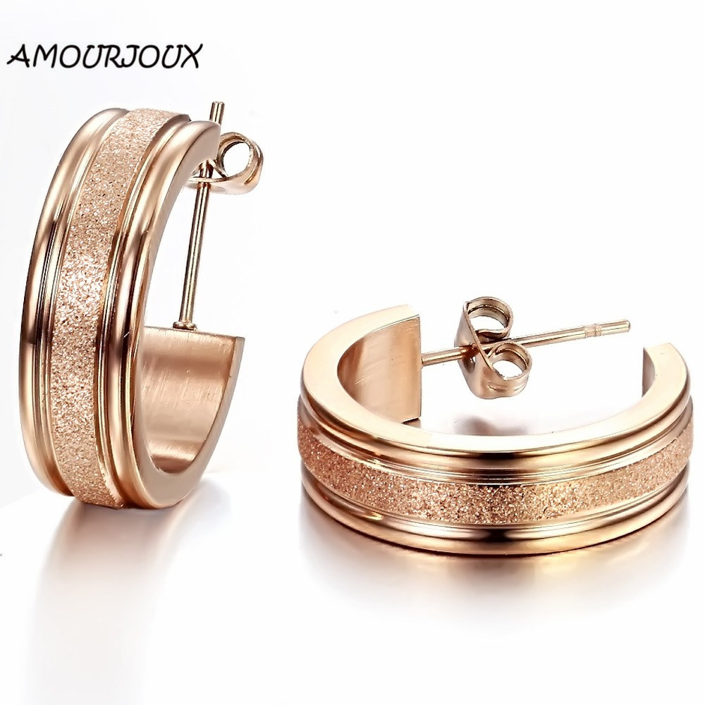 AMOURJOUX Fashion Rose/Pure Gold Color Dull Polish Stainless Steel Stud Earrings for Women Men Studs Male Female Earring for Man