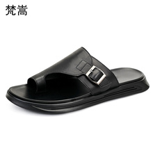 summer soft bottom flip-flops mens slippers casual beach shoes fender men genuine leather cowhide outdoor