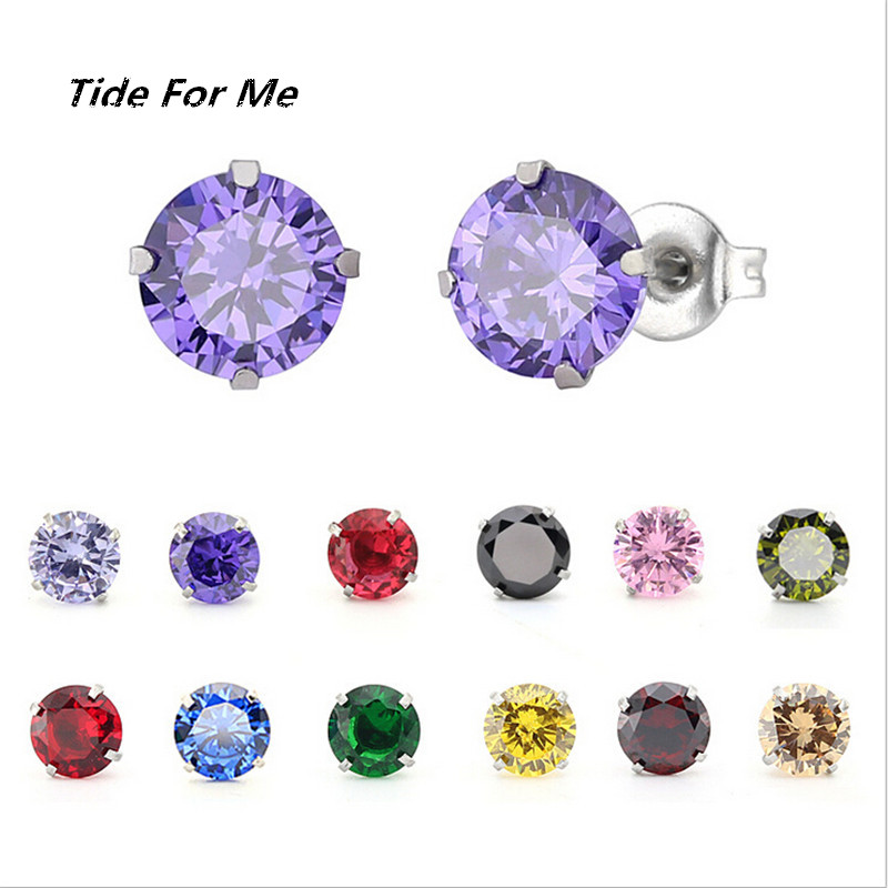 new arrival stainless steel round stud earrings for women wedding party gift shinny cz crystal stud earrings fashion jewelry