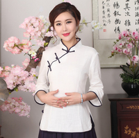 Plus Size XXXL White Chinese Women Casual Blouse Lady Spring Autumn Cotton Shirt Novelty Single Breasted