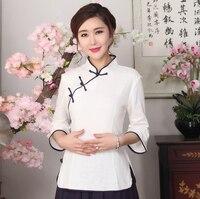 Plus Size XXXL Wit Chinese Vrouwen Casual Blouse Lady Lente Herfst Katoenen Shirt Nieuwigheid Enkele Breasted Kleding SG06