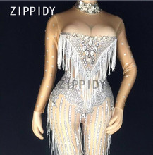 Glisten Silver Rhinestones Jumpsuit Sexy Tassels Big Stones Stretch Bodysuit Nightclub Singer Dance Party Outfit Women's Clothes colorful rhinestones tiger head pattern sexy bodysuit glisten crystals costumes nightclub singer dance show party outfit leotard