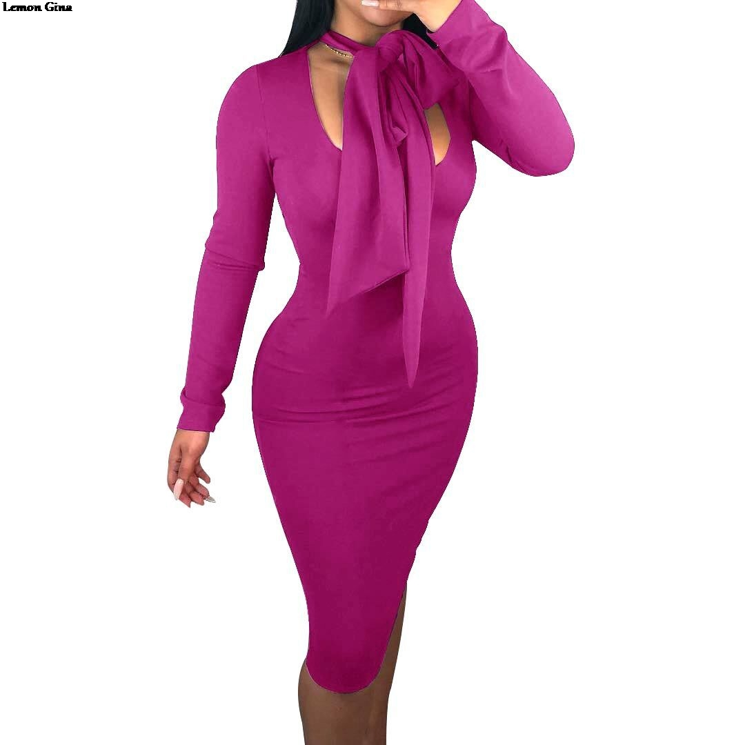Lemon Gina 2019 New Women Long Sleeve Bow Tie Up Neck