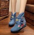 Algodón hecho a las mujeres Botas Planas de La Vendimia antideslizante Chino Tradicional Bordado Nacional de la Mujer Zapatos de Tela Botas para el Invierno