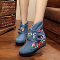 Women Cotton-made Flat Boots Vintage Anti-slip Chinese Traditional Embroidered National Women Cloth Shoes Boots for Winter