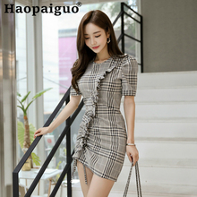 цена Big Size Print Plaid Mini Dress for Ladies Short Sleeve Corset Ruffles Bandage Wrap Dress Women Korean Style Summer Dress 2019