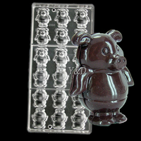 Pig 3 D diy  Clear Polycarbonate Hard Inject Plastic DIY Handmade Chocolate Candy Jelly PC Mold