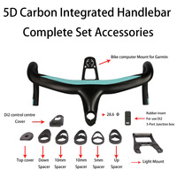 5D Full Carbon Road Bicycle Handlebar Integrated Drop Bar 28.6mm UD Weave With Bike Computer Mount Special Spacer light mount