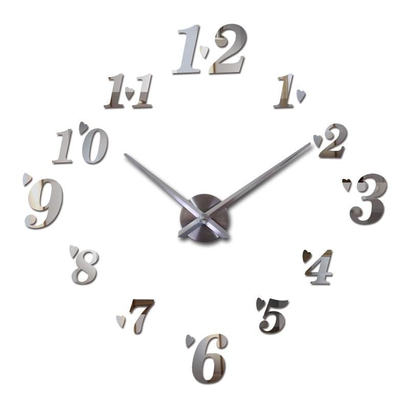 새로운 아크릴 벽시계 쿼츠 시계 거실 현대 3D 미러 스티커 reloj는 horloge 큰 장식 DIY 시계를 마쳤다