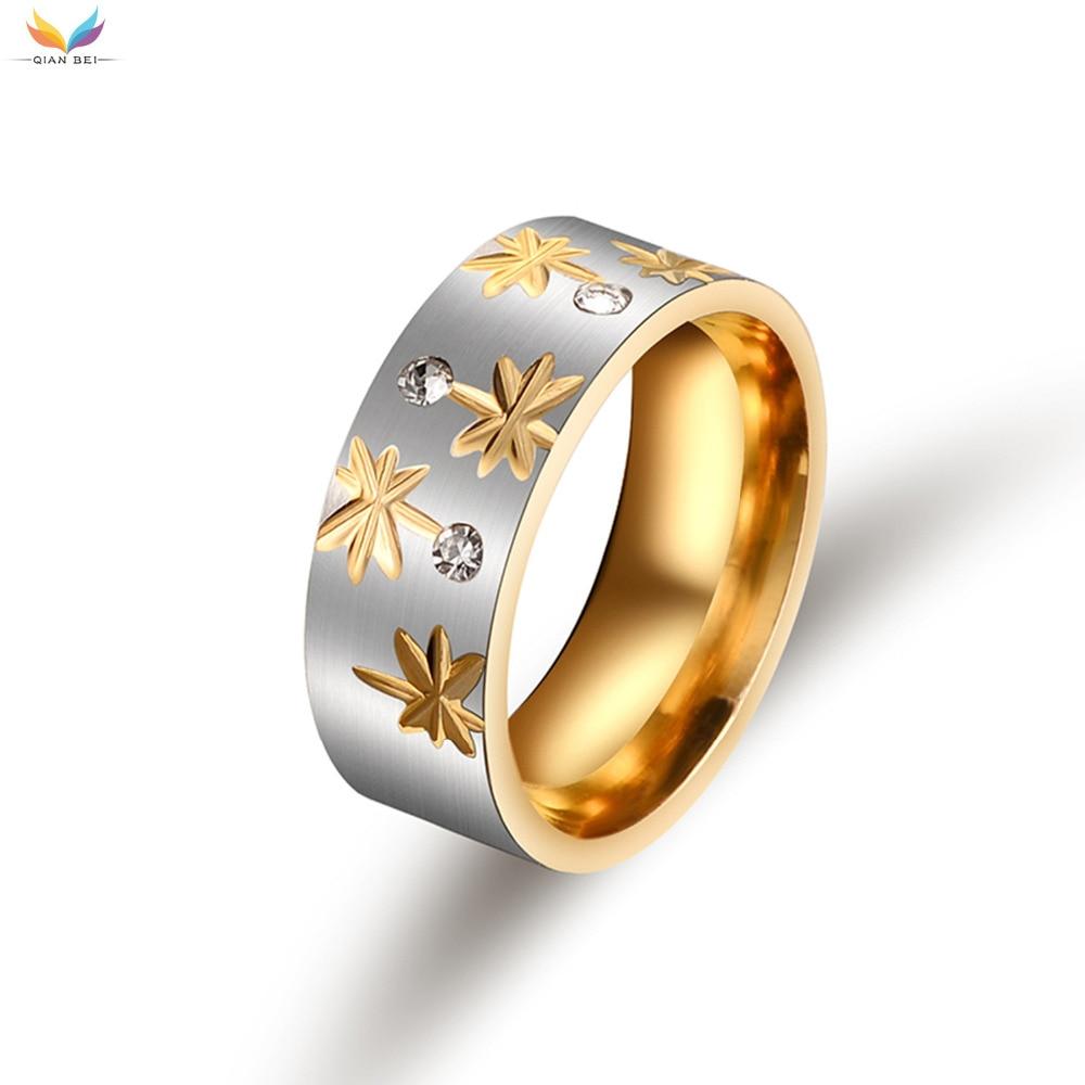 ᐅ8 мм золото Для женщин Снежинка кольцо 316L Титан стали Для женщин ... 3f52827fe79