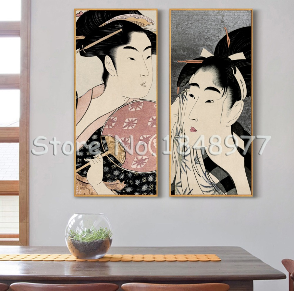 2 Pcs Classical Japanese  Painting Painting Wall Decor ...