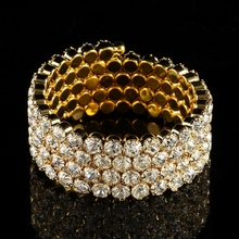 Crystal Rhinestone 4 Rows Spiral Bangles For Women