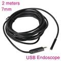 7 ММ 2 М USB Водонепроницаемая Эндоскопа Бороскоп Труба Мини Змея промышленные Камеры эндоскопа endoscopio cam для ПК автомобиля обнаружения ремонт