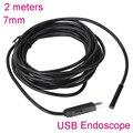 7 MM 2 M USB Impermeável Endoscópio Endoscópio Mini Tubo de Cobra Câmera endoscópio endoscopio industrial detecção cam para PC do carro reparação